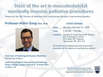 "International Speaker: ""State of the Art in Musculoskeletal Minimally Invasive Palliative Procedures""- Monday 19 February 2018"